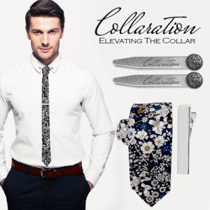 collaration floral tie collar set