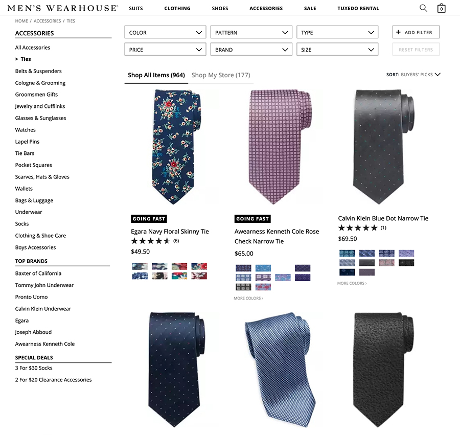 men's wear house ties