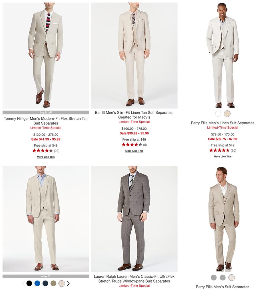macy's men's tan suit