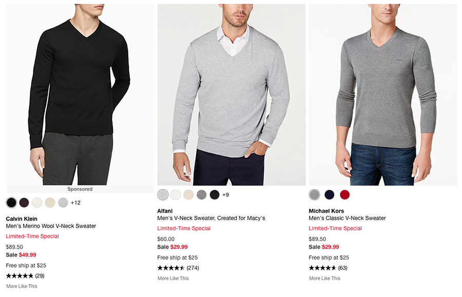 men's v-neck sweaters Macy's